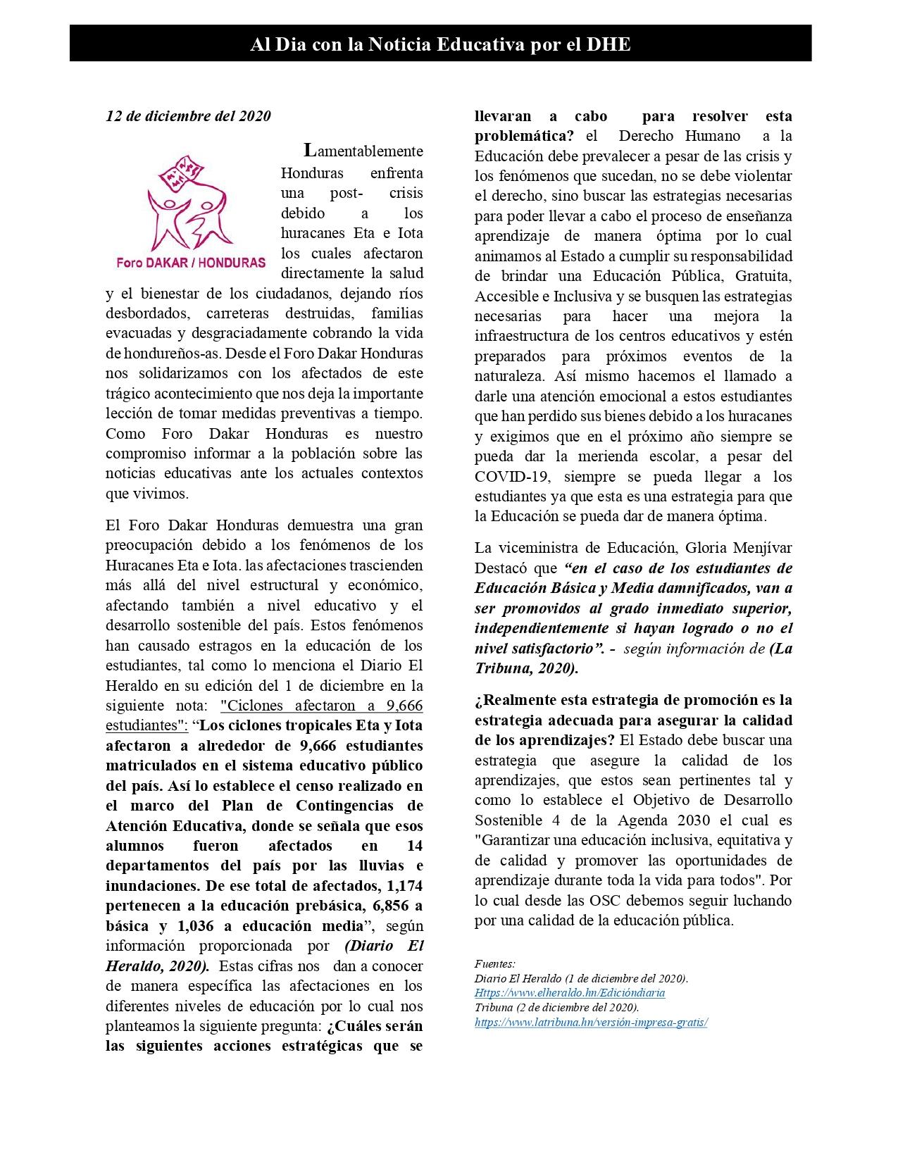 Articulo 12 de diciembre 2020 Al dia con la noticia educativa