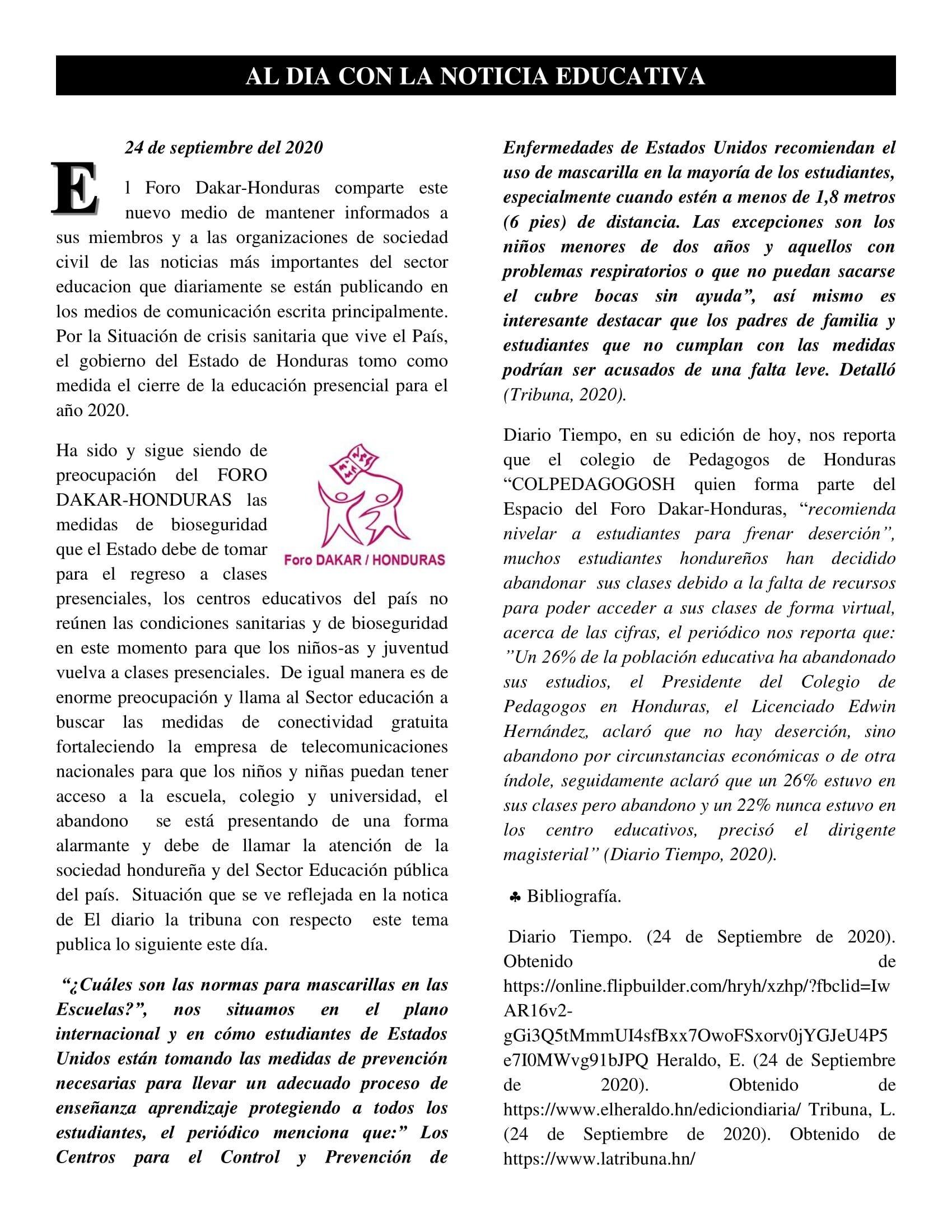Articulo 24 septiembre 2020 AL DIA CON LA NOTICIA EDUCATIVA